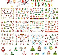 12 design/sets 2016 New Year Gift Nail Art Sticker Christmas Socks/Santa Claus Theme Water Transfer Decals Tools A1153-1164