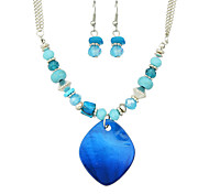 Jewelry 1 Necklace 1 Pair of Earrings Rhinestone Party Daily Casual 1set Women Blue Wedding Gifts