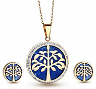 Kalen Stainless Steel 18K Italian Gold Plated Tree Of Life Pendant Necklace And Earrings Jewelry Set For Female Made In China