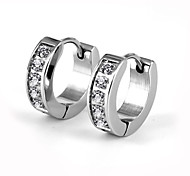 Fashion CZ Stones Inlaid 316L Stainless Steel Hoop Earring