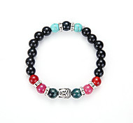 Natural Colorful Black Rock Like The Bracelet Men And Women With Beads Hand String