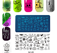 Rectangular Plate Manicure Printing Template Halloween Series