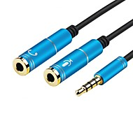 3.5mm Jack Stereo Headphone Mic Audio 1 Male to 2 Female Y Splitter Cable Adapte for PC Laptop Phone Tablet (0.28m 0.9Ft)