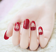 24 Pieces Of Nails Nail Phototherapy Nail Gorgeous Great Wine Red Diamond Finished Manicure