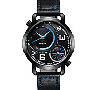 Break New Men Unique Sports Style Dual Time Zone Quartz Wristwatches Top Leather Band Waterproof Fashion Watches For Boy