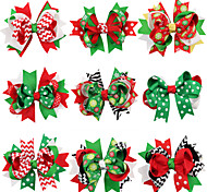 Christmas Hair Clips With Colorful XMS Ribbon Girl Hair Accessories