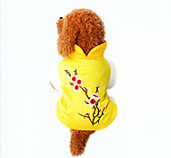 Dog Sweater Yellow Dog Clothes Winter / Spring/Fall Flower Cute / Casual/Daily / Keep Warm