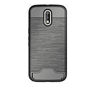 Для Бумажник для карт / со стендом Кейс для Задняя крышка Кейс для Один цвет Твердый TPU для Motorola MOTO G4 / Мото G4 Plus / One Plus 3