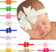 20 pcs/set Baby Girls Bows Hair Clips With Rhinestone In Center
