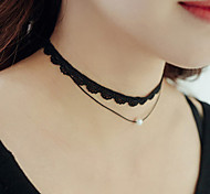 Women's Choker Necklaces Tattoo Choker Imitation Pearl Pearl Lace Tattoo Style Fashion Personalized Black JewelryWedding Party Halloween