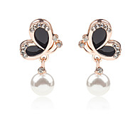 Women Korean New Oil Painting Pearl Crystal Earrings Black White Butterfly Earrings 1pair