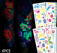 6 Tattoo Stickers Animal Series / Flower Series / Totem Series / Others / Cartoon Series / Romantic SeriesNon Toxic / Pattern / Halloween