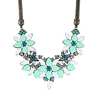 Colorful Stone Flower Statement Collar Necklaces