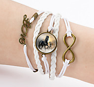 Men's Women's Charm Bracelet Leather Bracelet Wrap Bracelet Friendship Double-layer Leather Love Horse Infinity Jewelry For Casual
