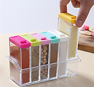 6 Spice Shaker Seasoning Bottle Jar Condiment Storage Container Kitchen Food Box