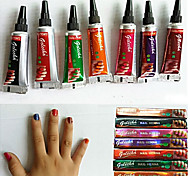 7pcs Nail Henna Multi Color Nail Polish Herbal Mehandi Tube For Beautiful Nail Art 5g