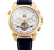 Men's Wrist watch Quartz Leather Band Brown Brand