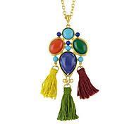 Colorful Geometric Long Pendant Necklaces