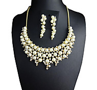 Jewelry Set Crystal Pearl Pearl Simulated Diamond Statement Jewelry Fashion Luxury Jewelry Gold/White Daily 1set1 Necklace 1 Pair of