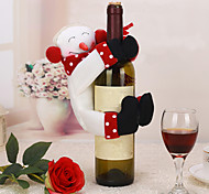 1pc Christmas Table Decoration Snowman Wine Bottle Cover Towel Holder Decor Holiday Party Gift