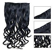5 clip ondulato jet nero (# 1) Clip capelli sintetici nelle estensioni dei capelli per le signore più colori disponibili