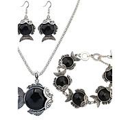 Jewelry Set Resin Alloy Fashion Black Red Green Party 1set 1 Necklace 1 Pair of Earrings 1 Bracelet Wedding Gifts