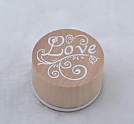 старинные цветочным узором слово круглый деревянный штамп (любовь)
