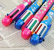6 Color Cartoon Bear Pattern Ballpoint Pen