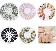5pcs Nail Art Decoration White Pearl Colorized Rhinestones 3D Glitter Metal Round Wheel Stickers Square Rivet Studs Nail Supplies