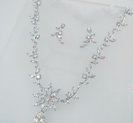 Jewelry Set Zircon Cubic Zirconia Bridal Silver Party 1set Necklaces Earrings Wedding Gifts