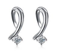 Concise Silver Plated Clear Crystal Style Stud Earrings for Wedding Party Women Jewelry Accessiories