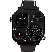 Men's Fashion table / Leather Watchband two thermometer compass Sport Watch