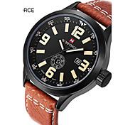 Men's Sport Watch Military Watch Dress Watch Fashion Watch Wrist watch Calendar Large Dial Quartz Digital Genuine Leather BandVintage