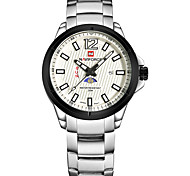 NAVIFORCE Brand Men's Fashion Wristwatch Day and Night Design Dial  Stainless Steel Band Casual Men Watch Black White