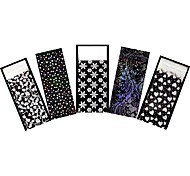 5pcs White Nail Art Foil Sticker Polish Transfer Decal Heart Snowflake Pattern Nail Care Christmas Gift