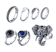 Ring Acrylic Party Daily Casual Jewelry Alloy Women Ring 1set Silver Fashion Personality Beautiful Elephant 7pcs