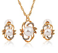 Jewelry 1 Necklace 1 Pair of Earrings Party Alloy 1set Women Plum Gold  Wedding Gifts