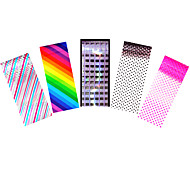 5pcs Foil Nail Art Transfer Colored Sticker Dot Rainbow Decal Full Cover Manicures Tips Tool
