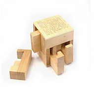 Educational Toy Kong Ming Lock Novelty Toy Square Wood Khaki For Boys For Girls 2 to 4 Years