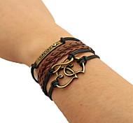 Bracelet Wrap Bracelet Leather Bracelet Alloy Heart Fashion Gift Sports Valentine Jewelry Gift Brown,1pc