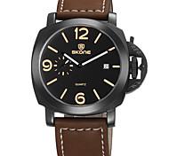 Men's Fashion Watch Quartz Calendar Water Resistant/Water Proof Leather Band Black Brown Brand