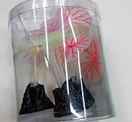Decoración de Acuario Flor No Tóxico y Sin Sabor Plástico Rojo