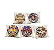 Set of 5 Novelty Geometric lattice  pattern Linen Pillowcase Sofa Home Decor Cushion Cover