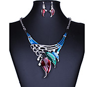 Jewelry Set AAA Cubic Zirconia Classic Colorful Luxury Fashion Simulated Diamond Alloy Black Red Green Blue Rainbow1 Necklace 1 Pair of