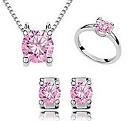 Jewelry Set Crystal Zircon Cubic Zirconia Alloy Fuchsia Blue Party 1set 1 Necklace 1 Pair of Earrings Rings Wedding Gifts