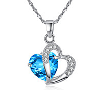 Europe and the United States model of amethyst color zircon heart heart  crystal pendant item # 0378