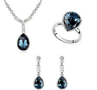 Jewelry Set Crystal Alloy White Blue Light Blue Party 1set 1 Necklace 1 Pair of Earrings Rings Wedding Gifts
