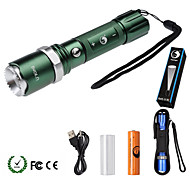 U'King ZQ-940G# XML-T6 2000LM 5Mode Flashlight Torch Kit with Attack Head Self-defense Function and USB Cable