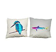 Set of 2 Creative geometric lattice animal pattern Linen Pillowcase Sofa Home Decor Cushion Cover