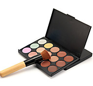 1pcs 15color Concealer plus 1pcs concealer foundation makeup brush Contour Pressed Powder Dry Pressed powder Concealer Freckle Face Black # popfeel